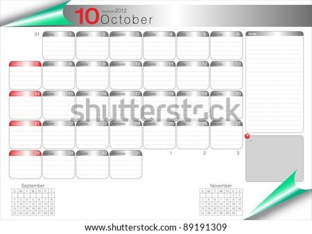 Vector Calendar Table 2012 October - stock vector