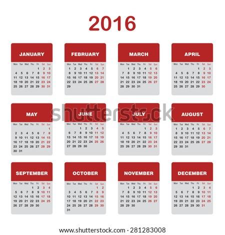 Vector 2016 Calendar template  - stock vector