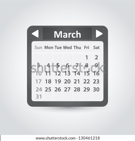 Vector calendar template for application. March, 2013 year - stock vector