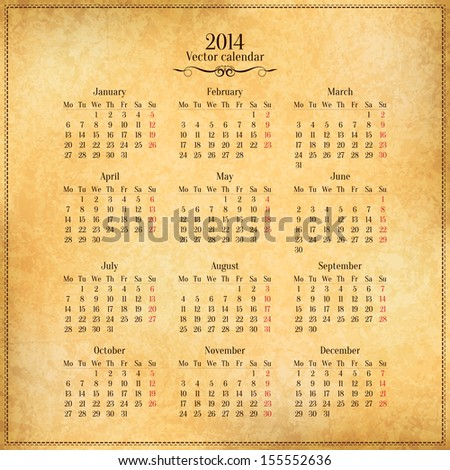 Vector 2014 Calendar Template On Old Stock Vector 155552636