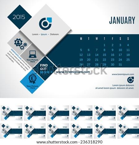 Vector Calendar Template 2015- promote your business! EPS 10 - stock vector