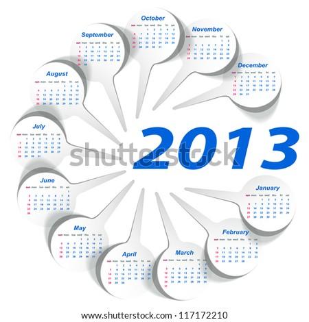 Vector calendar 2013 (week starts on Sunday) - stock vector