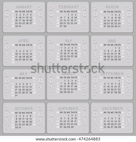 Vector calendar 2017 - weeks start on sunday. Can be used for web and print design: card, banner, poster, label, bookmark.