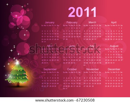 vector calendar with christmas tree artwork