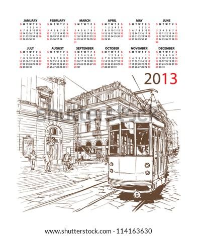 Vector calendar 2013 with train illustration. - stock vector