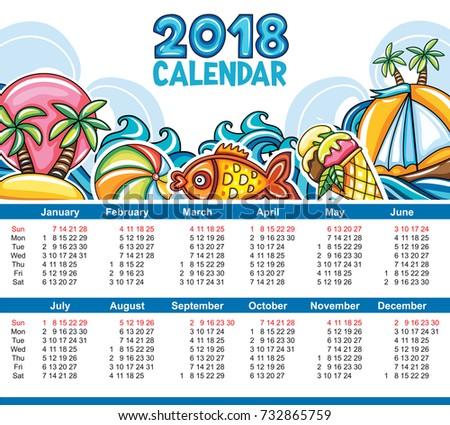 Vector Calendar 2018 Year Week Starts Stock Vector 732865759