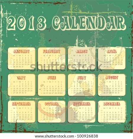 Vector calender for 2013 in square design with grunge background - stock vector