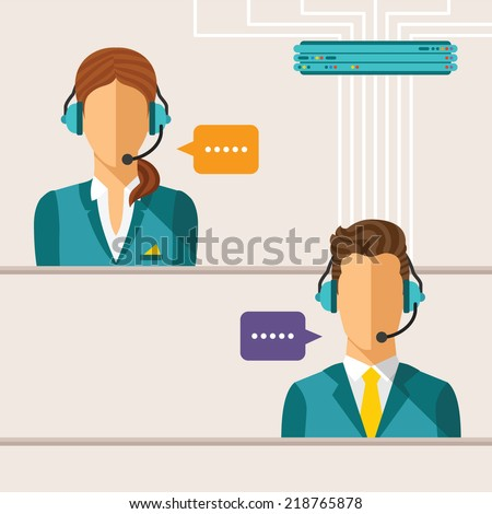 Vector call center concept with man and woman in headset - stock vector