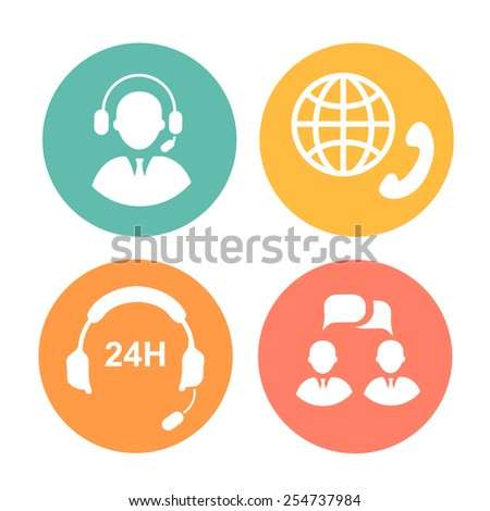 vector call center icons of operator, headset and handset - stock vector