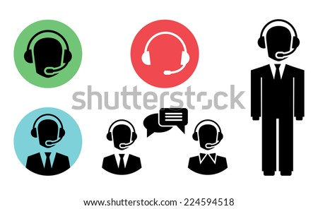 vector call center icons of operator in headset - stock vector