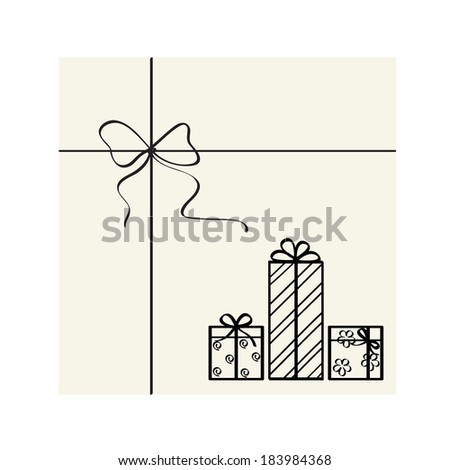 Vector calligraphic bow and gift boxes.