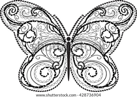 Vector calligraphic butterfly isolated on white background