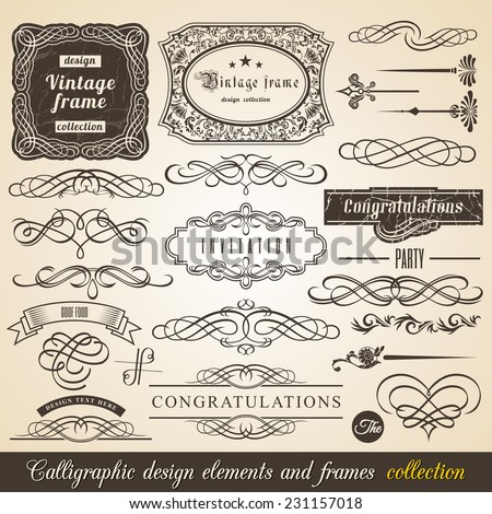 Vector Calligraphic element Border Corner Frame and Invitation Collection. Decoration Typographic Elements, Vintage Labels, Ribbons. Invitation design vector illustration - stock vector