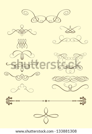 Vector calligraphic elements - stock vector