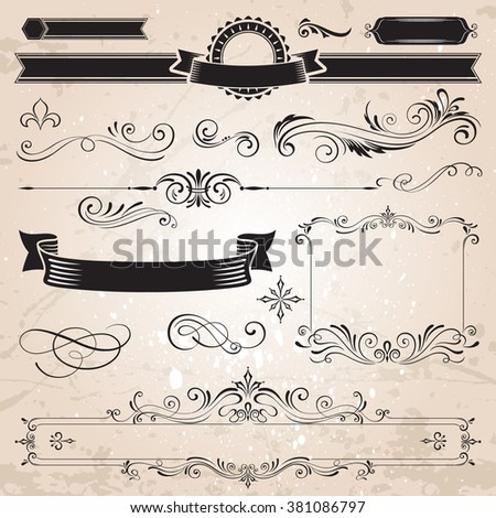 Vector calligraphic elements and decoration