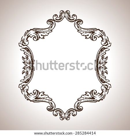 Vector calligraphic engraving frame in antique style - stock vector