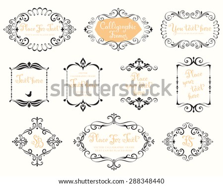 Vector calligraphic frames and vintage design elements. - stock vector