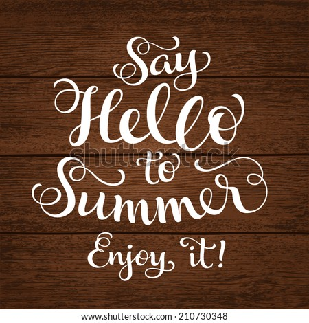 "Vector calligraphic inscription with ornamental elements on wood background. ""Say Hello to Summer. Enjoy it!"" poster or postcard. Typography collection, vacation illustration - stock vector"
