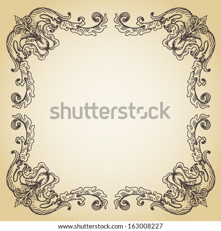 Vector calligraphic page decoration, hand drawn antique frame on old paper