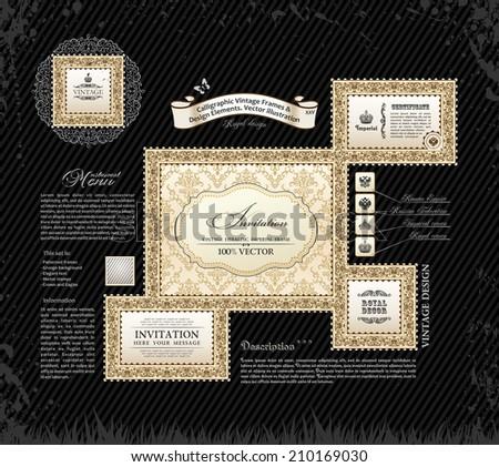 Vector calligraphic vintage frames and design ornament. Grunge black background - stock vector