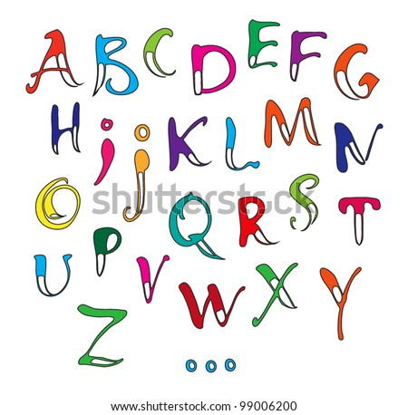 Vector calligraphy color alphabet on a white background / Calligraphy alphabet - stock vector