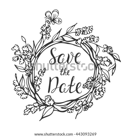 Vector Calligraphy Save Date Lettering Doodle Stock Vector 443093269 ...