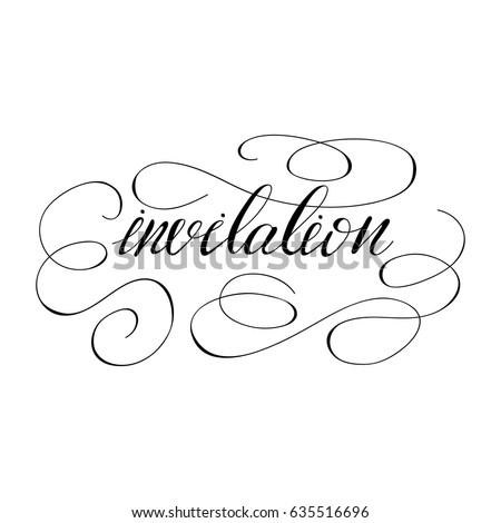 Vector calligraphy word invitation monograms stock vector vector calligraphy word invitation with stopboris Images
