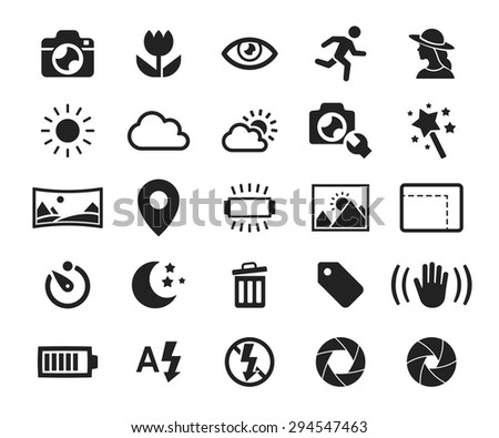 Vector camera functions & menu icons set // 01