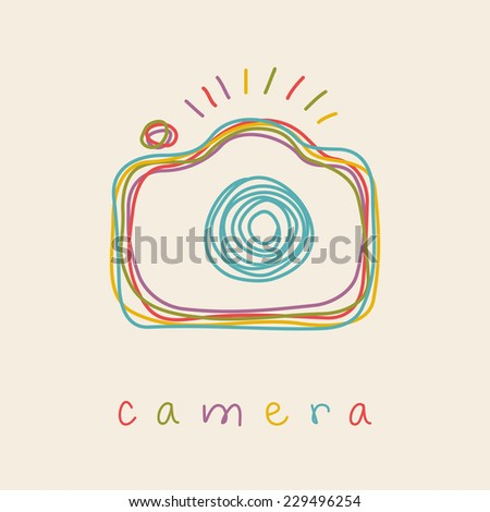 Vector camera icon. Doodle hand drawn sign in sketch childish style. Original decorative illustration for print, web - stock vector