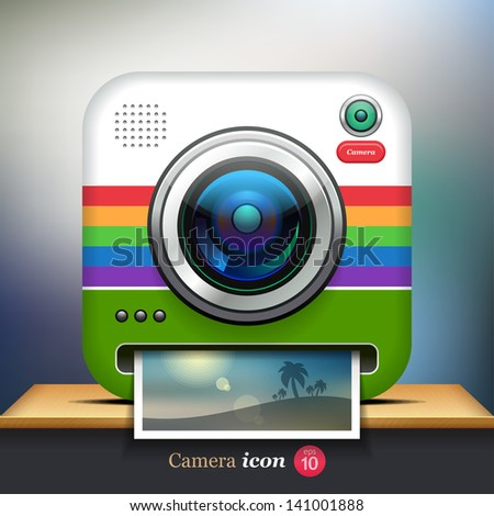 Vector camera icon for web or mobile applications. Eps 10 - stock vector