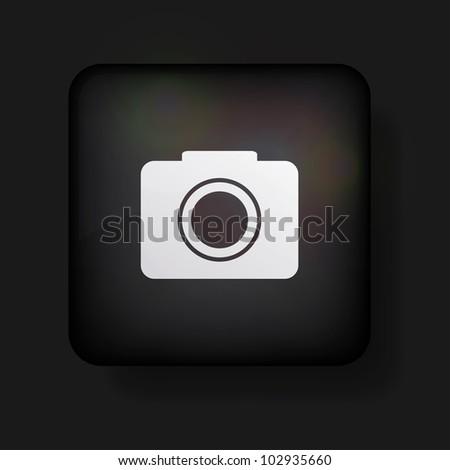 Vector camera icon on black. Eps10 - stock vector