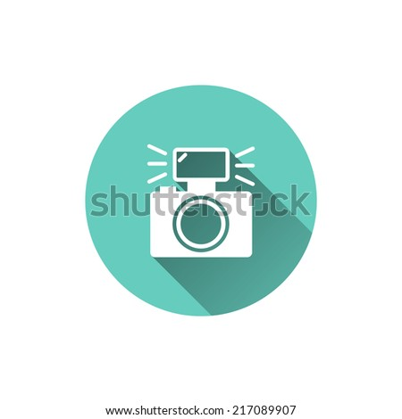 Vector camera icon with long shadow. Photo equipment illustration isolated