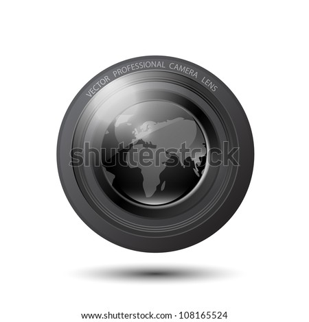 Vector camera lens with earth map outlines - stock vector