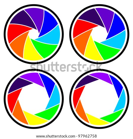 Vector camera shutter apertures (diaphragm), isolated over white - stock vector