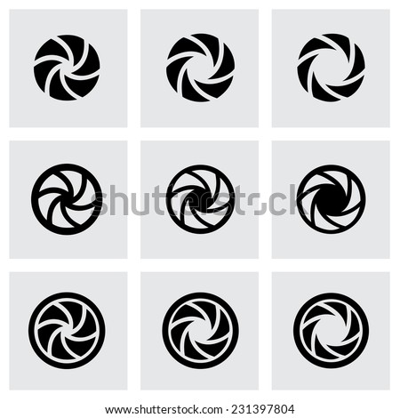 Vector camera shutter icons set on grey background - stock vector