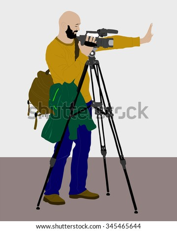 vector cameraman - with video camera - at work - stock vector