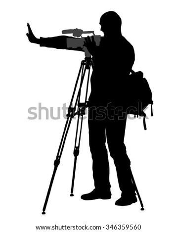vector cameraman - with video camera - at work  silhouette , - stock vector