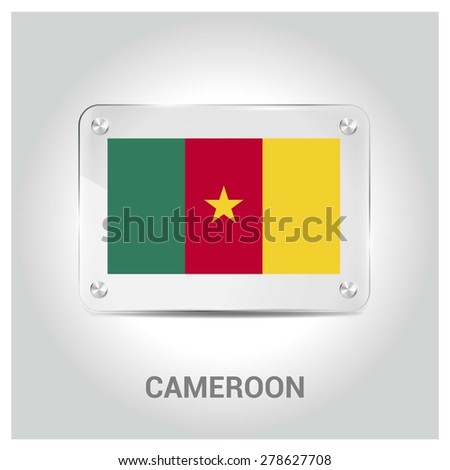 Vector Cameroon Flag glass plate with metal holders - Country name label in bottom - Gray background vector illustration