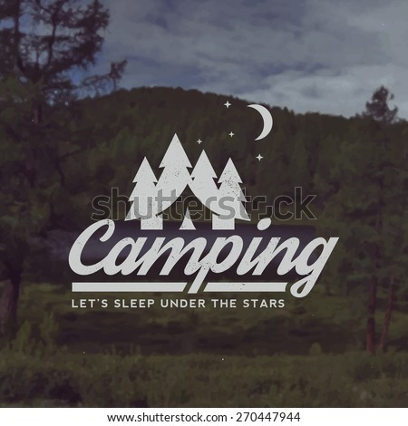 vector camping emblem. outdoor activity symbol with grunge texture on mountain landscape background - stock vector
