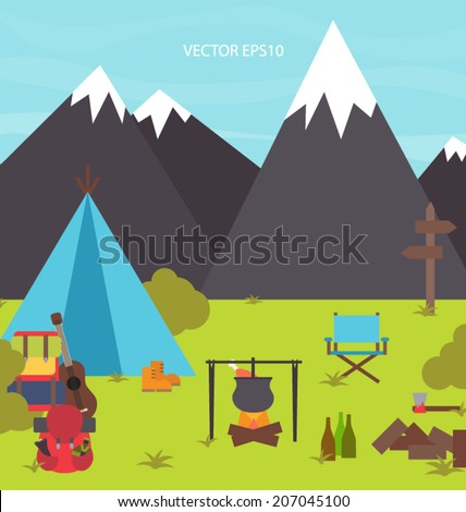 Vector camping in mountains  - stock vector