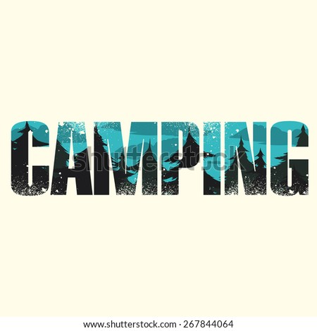 Vector camping poster with double exposure effect