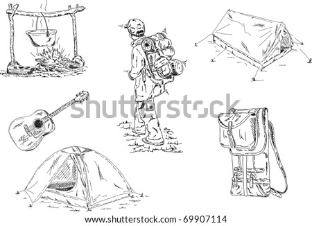 vector - camping set isolated on background