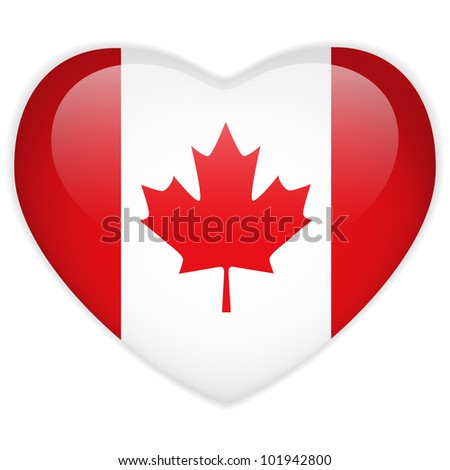 Vector - Canada Flag Heart Glossy Button - stock vector