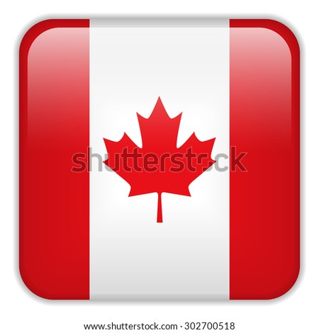 Vector - Canada Flag Smartphone Application Square Buttons - stock vector