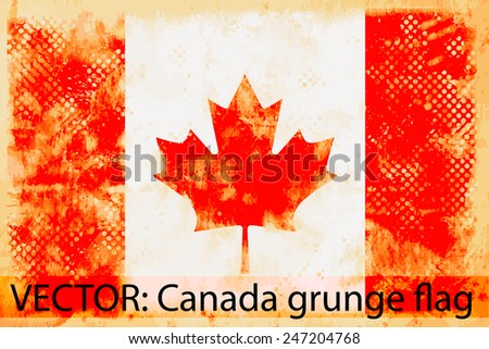 VECTOR: Canada grunge flag on the vintage paper using  for background - stock vector