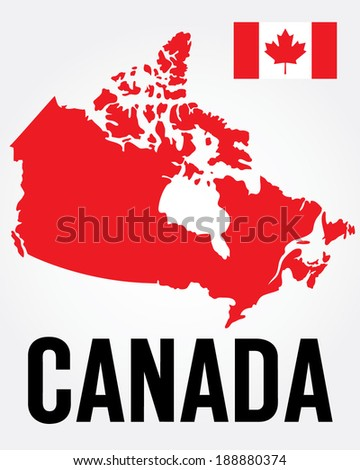 Vector Canada Map and Flag Set  - stock vector