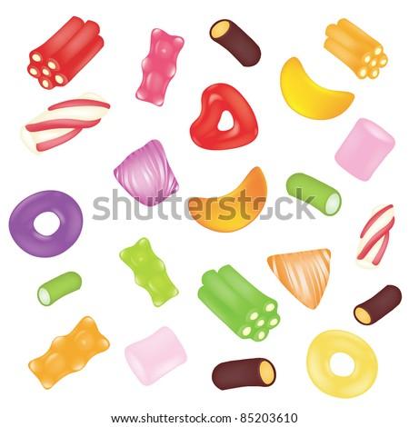 Vector candies background - stock vector