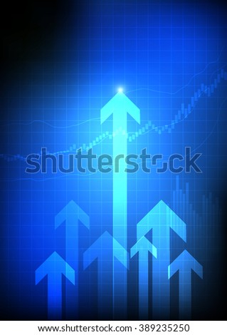 Vector : Candle sticks and bar chart with arrows on business background