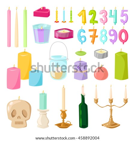 Vector candles isolated set. Candles light flame christmas candlelight wax decoration. Celebration glowing religion candles birthday traditional decoration. Romance night bright flame. - stock vector