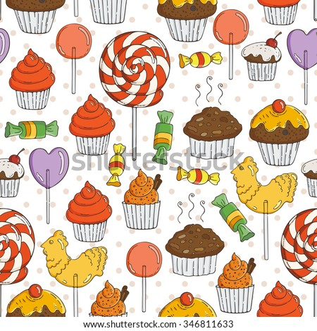 Vector Candy and Muffins Seamless Pattern. Cakes, Sweets, Bows.